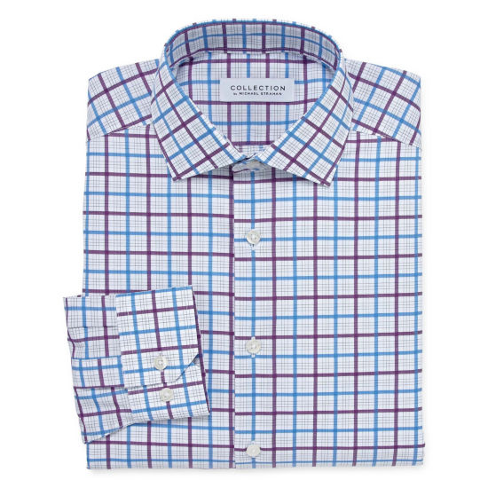 Collection by Michael Strahan  Wrinkle Free Cotton Stretch Long Sleeve Woven Grid Dress Shirt
