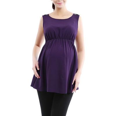 Glow & Grow Women's Polka Dot Lace Back Maternity Top