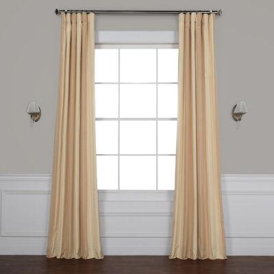 Exclusive Fabrics & Furnishing Bershire Faux Silk Stripe Rod-Pocket/Back-Tab Curtain Panel