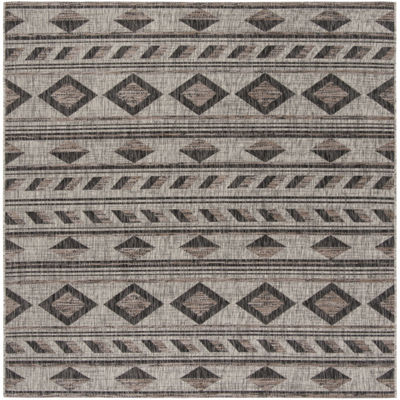 Safavieh Courtyard Collection Luana Geometric Indoor/Outdoor Square Area Rug