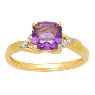 Womens Genuine Purple Amethyst 10K Gold Cocktail Ring