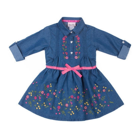 Little Lass Long Sleeve Floral Chambray Belt Dress - Baby Girls