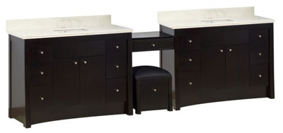 116.45-in. W Floor Mount Distressed Antique WalnutVanity Set For 1 Hole Drilling Beige Top BiscuitUM Sink
