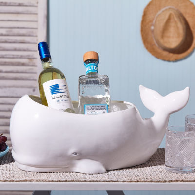 Two's Company Beluga Whale Planter/Beverage And Ice Tub