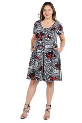 24Seven Comfort Apparel Ellie Black and Red Multicolor Empire Waist Mini Dres