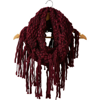 Tickled Pink Knit Fringe Infinity Cold Weather Scarf