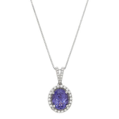 Womens Simulated Purple Tanzanite Sterling Silver Pendant Necklace