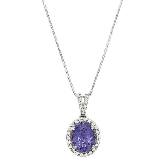 Womens Simulated Purple Tanzanite Pendant Necklace