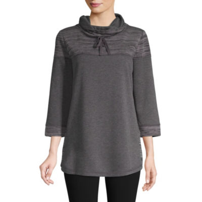 St. John's Bay Active 3/4 Sleeve Texture Mix Cowl Neck Pullover