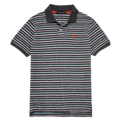 U.S. Polo Assn. Short Sleeve Stripe Pique Polo - Big Kid Boys