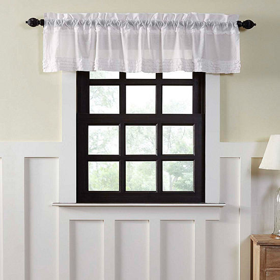 Farmhouse Window White Ruffled Sheer Valance