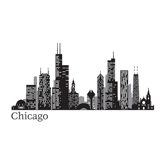 Brewster Wall Chicago Cityscape Wall Art Kit Wall Decal