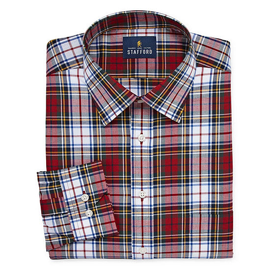Stafford Tartan Trend Easy-Care Stretch Mens Point Collar Long Sleeve Stretch Dress Shirt