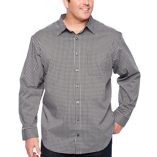 Van Heusen Traveler Performance Non-Iron Woven Mens Long Sleeve Checked Button-Front Shirt Big and Tall