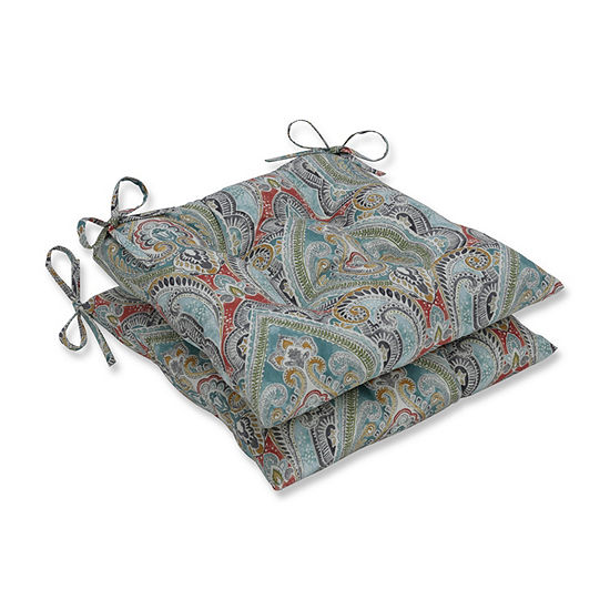 Pillow Perfect Set of 2 Pretty Witty Reef Wrought Iron Patio Seat Cushion