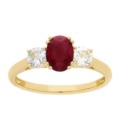Womens Red Ruby 10K Gold Cocktail Ring