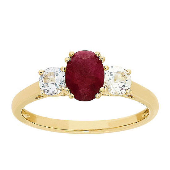 Womens Lead Glass-Filled Red Ruby 10K Gold Cocktail Ring