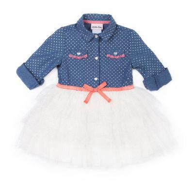 Little Lass Long Sleeve Denim Dot Dress - Baby Girls
