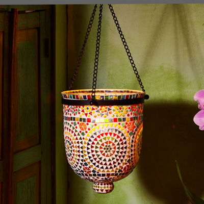 Two's Company Multi-Color Mosaic Hanging Lantern