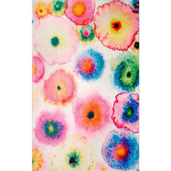 nuLoom Abstract Blossoms Lilla Shaggy Rug