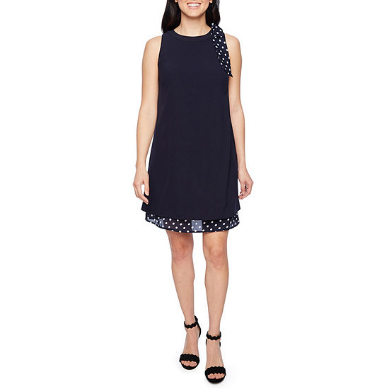 Chelsea Rose Sleeveless Polka Dot Sheath Dress
