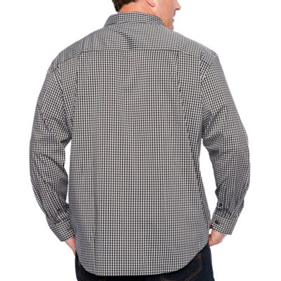 Van Heusen Traveler Performance Non-Iron Woven Mens Long Sleeve Checked Button-Front Shirt Big and Tall
