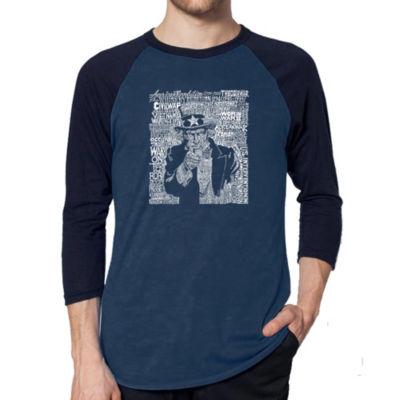 Los Angeles Pop Art Men's Raglan Baseball Word Art T-shirt - UNCLE SAM
