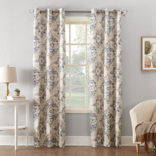 Sun Zero Regina Floral Watercolor Thermal Insulated Grommet Curtain Panel
