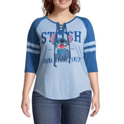 Stitch Lace Up Baseball Tee - Juniors Plus