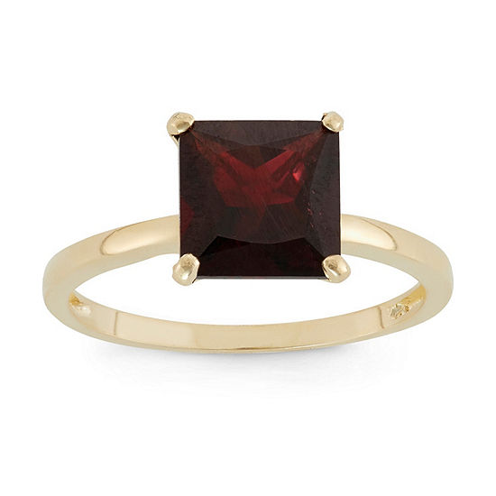 Womens Genuine Red Garnet 10K Gold Solitaire Cocktail Ring