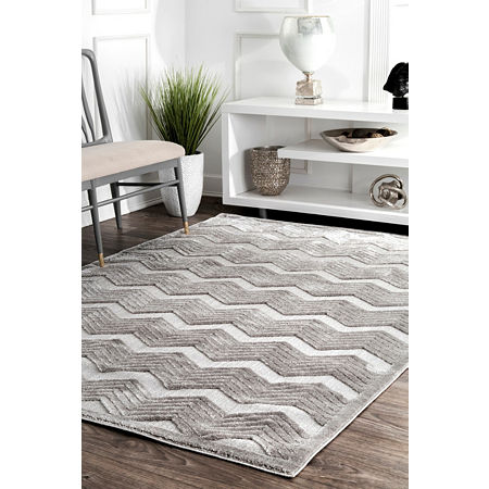 nuLoom Sallee High-Low Chevron Area Rug, One Size , Gray