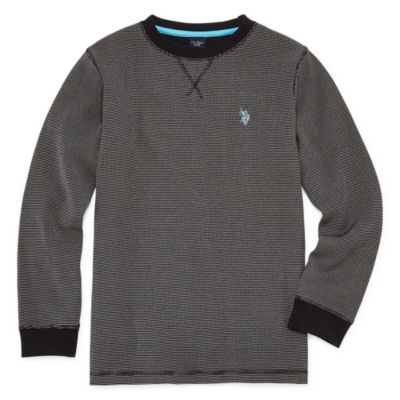U.S. Polo Assn. Boys Crew Neck Long Sleeve Embroidered Thermal Top - Big Kid