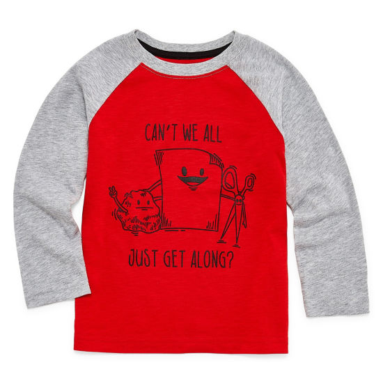 Okie Dokie Long Sleeve Round Neck T-Shirt-Toddler Boys