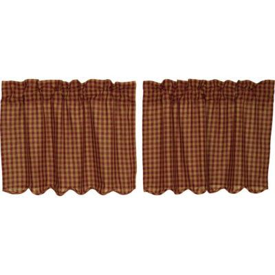 Primitive Window Burgundy Check Scalloped Tier Pair