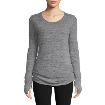 St. John's Bay Active Long Sleeve Side Shirred Top