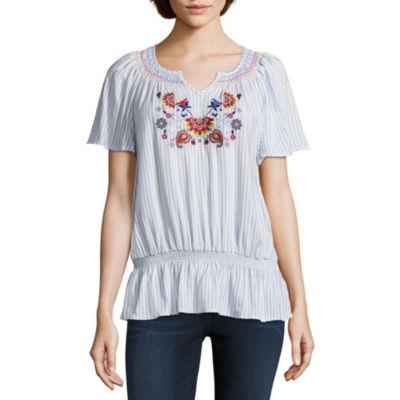 Liz Claiborne Womens Split Crew Neck Short Sleeve Embroidered Peasant Top