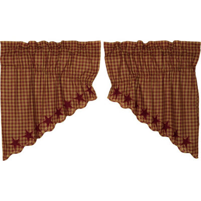Primitive Window Burgundy Star Scalloped Prairie Swag Pair