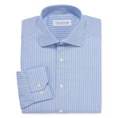 Collection by Michael Strahan  Wrinkle Free Cotton Stretch Long Sleeve Woven Stripe Dress Shirt