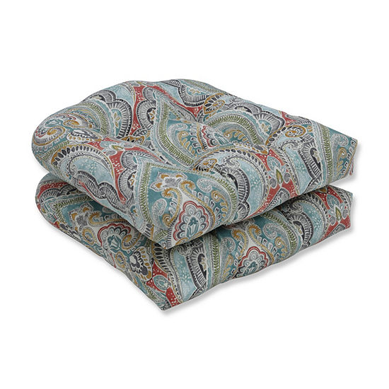Pillow Perfect Set of 2 Pretty Witty Reef Wicker Patio Seat Cushion