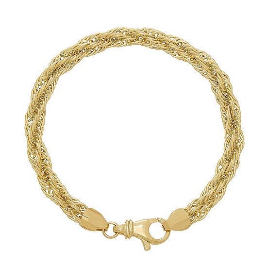 10K Gold 7.5 Inch Hollow Chain Bracelet