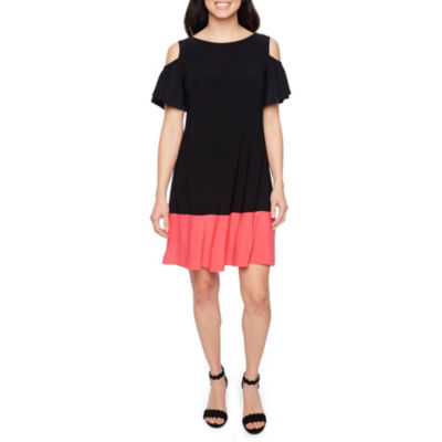 Ronni Nicole Short Sleeve Cold Shoulder A-Line Dress