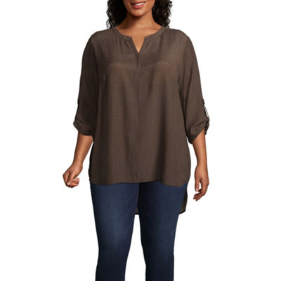 St. John's Bay Roll Tab Tunic - Plus
