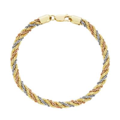 14K Gold 14K Tri-Color Gold 7.5 Inch Hollow Rope Link Bracelet