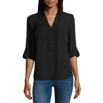 by&by Relaxed Fit 3/4 Sleeve Button-Front Shirt-Juniors