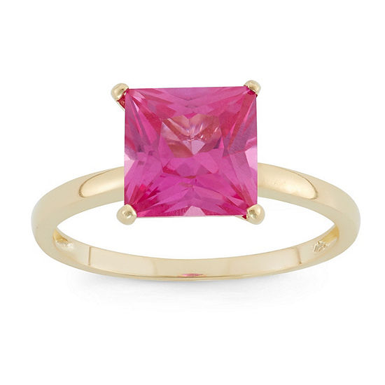 Womens Lab Created Pink Sapphire 10K Gold Solitaire Cocktail Ring