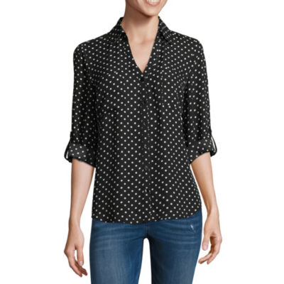 by&by Womens Collar Neck 3/4 Sleeve Crepe Blouse-Juniors