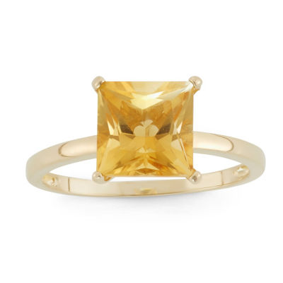 Womens Yellow Citrine 10K Gold Solitaire Ring