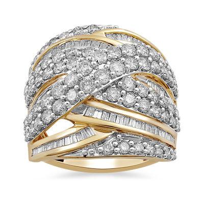 Womens 3 CT. T.W. White Diamond 10K Gold Cocktail Ring
