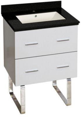 23.75-in. W Floor Mount White Vanity Set For 1 Hole Drilling Black Galaxy Top Biscuit UM Sink