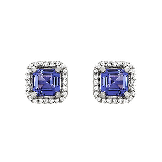 Simulated Purple Tanzanite Sterling Silver Stud Earrings